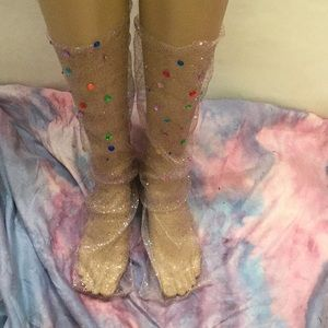 Glitter Tulle Socks with Colored Crystals